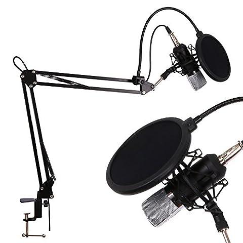 CAHAYA Ensemble de Microphone à Condensateur avec Anti-shock Frame Anti-spray pour Professional Studio Broadcasting Recording