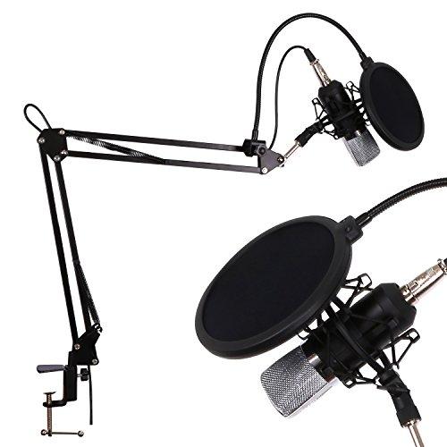 CAHAYA Mikrofon Set Kondensator Mikrofon mit Popschutz und Ständer Kugel-Typ Anti-wind Schaum Kappe für Studio Rundfunk Aufnahme (CY0030)