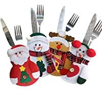 Eastever 4 Pcs Christmas Knife and Fork Set Tableware Bags, Silverware Holder Pockets, Dinner Table Flatware, Creative Home Table Cutlery Set for Party Decoration - A