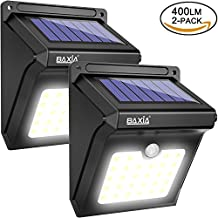 BAXiA Luces Solares, Luces de Exterior con Sensor de Seguridad por Movimiento Inalámbricas y con Batería Solar Exterior para Jardín, Patio, Terraza, Inicio, Camino, Escalera Exterior [400LM,2 Paquetes]