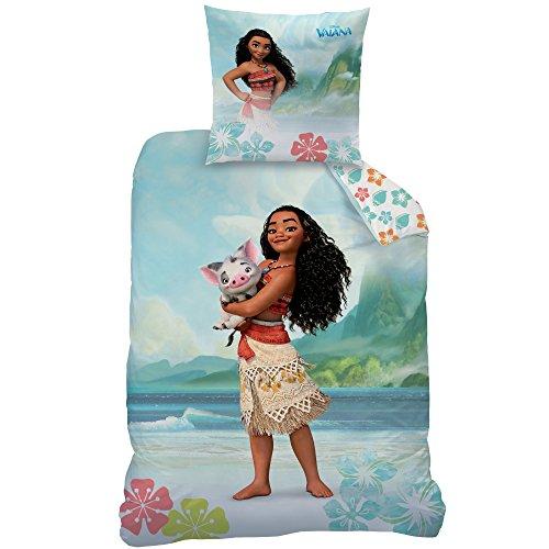 CTI Vaiana Aloha Housse de Couette 140 x 200 cm et Taie d'Oreiller 63 x 63 cm Coton Vert