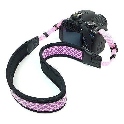 Kameragurt | Birugear® Universal Neopren Rutschfest Kamera Camcorder Schultergurt / Trageriemen für DSLR, SLR, Digitalkamera, Systemkamera - Lila / Römisches Muster
