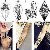 yyyDL Uomini Impermeabile Corvo Tatuaggio Braccio Tronco geometrico Tatuaggio temporaneo Donne Picco Caviglia Adesivi Linea fantoccio Stelle Tatuaggi finti Luna 10,5 * 6 cm 8 pezzi
