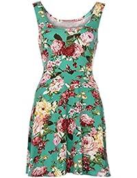 Ouneed Las mujeres de verano sin mangas florales noche fiesta playa mini vestido