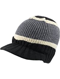 Retro Peak Beanie Cap Knitted Black / White / Grey