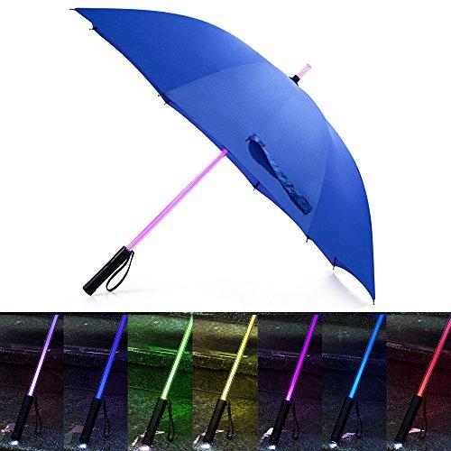 bestkee ombrelli da Golf Ombrello Spada laser-Spada laser con luce a LED con 7colori cangianti sul manico/costruito in torcia a fondo, Blue
