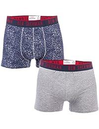 Ben Sherman Mens Ellis 2 Pack Boxer Shorts in Navy