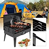 Orpio Barbecue Charcoal Grill Folding Portable Lightweight BBQ Tools for Outdoor Cooking Camping Hiking Picnics Tailgating Backpacking (Black)