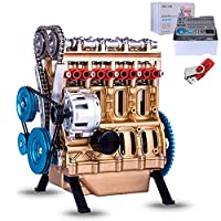 Yavso Teching V4 Car Engine Assembly Kit Four Cylinder Car Engine Building Kit for Adults