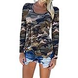 Highdas Damen Camouflage Shirt Militär Langarmshirts Grün S