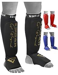 Emrah MMA Protège-tibias cou-de-pied Rembourrage en mousse jambe support de boxe Pied de protection Gear kickboxing (paire)