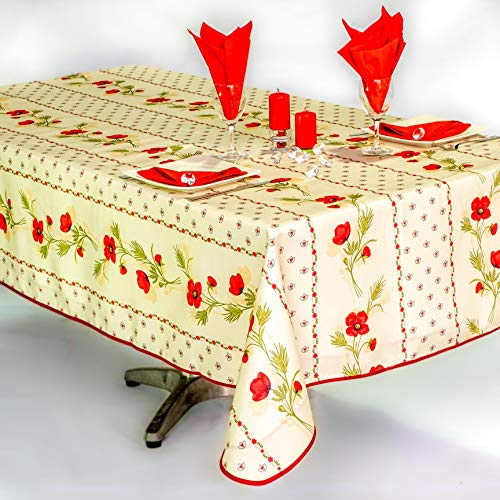 villagesdeprovence.net Nappe Coquelicot v2 rectangulaire - Anti Taches, Infroissable - 100% Polyester (Tissu) - Ecru, 240x150cm, Rectangulaire