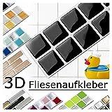 Grandora 7er Set 25,3 x 3,7 cm Fliesenaufkleber schwarz Fliesensticker Design 4 Mosaik 3D-Effekt Aufkleber Küche Bad Fliesendekor Selbstklebend W5288
