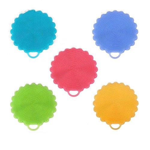 Silikon Schüssel Waschbürsten Multifunktionale Antibakterielle Schwamm Hitzebeständige Pad für Küchenwäsche Pan Pot Dish Darm 5 Pack