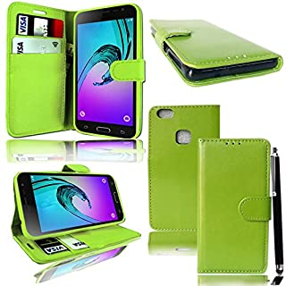 Huawei P10Lite Handy–Mobile Stuff Luxus PU Cover Schutzhülle Geldbörse-Hand für Huawei P10Lite 2017Smartphone + Free Stylus Pen Plain Green Book