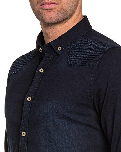 BLZ jeans - Chemise homme en jean bleu brut nervuré Bleu