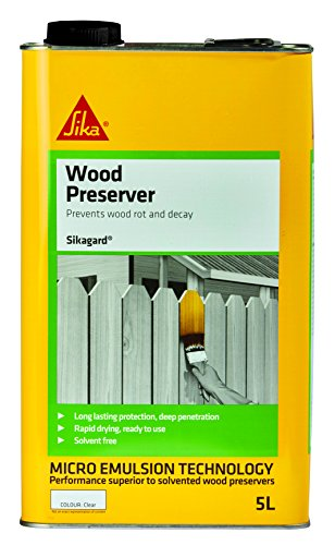 Sikagard Wood Preserver - Treatment against wet rot, dry rot, decay and fungi - 5L - Clear