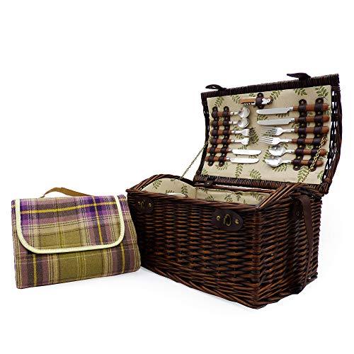 Traditioneller Weiden Picknickkorb Für 4 Personen Mit Picknickdecke - Ein Idealer Geschenkkorb Für Weihnachten, Geburtstag, Hochzeit