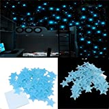 Stickonn Blue Fluorescent Glow In The Dark Star Wall Sticker(Pack of 50, Size:3x3)