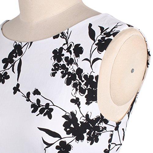 LUOUSE Sommer Damen Ohne Arm Kleid Dress Vintage kleid Junger abendkleid V056-White