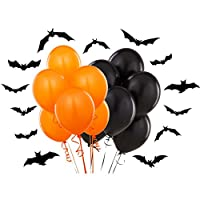 "Plain Black & Orange 12"" Halloween Party Balloons"