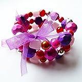 Bracciale multi di fila (3) il colore viola, viola, rosa, fucsia