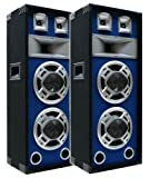 2x600W Party DJ PA Lautsprecher-PAAR Disco Boxen doppel 20cm BASS Blue-LED E-Lektron SPL220