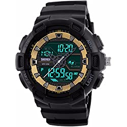 Unitedeal Men's Waterproof Dual Time Quartz Digital Outdoor Sports Alarm Stop Watch Calendar Rubber Wrist Watch Gold