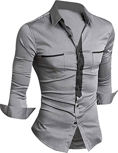 jeansian Hommes Chemise Casual Slim Fit Trend Fashion Mens Shirt 8514 gray