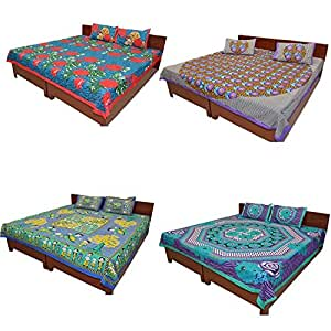 GRJ India 4 Designer Rajasthani Cotton Double Bed Sheets with 8 Pillow Covers