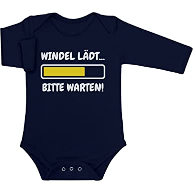 21c0f561e3e075 Lustige Babykleidung Baby Langarm Body Newborn Marineblau