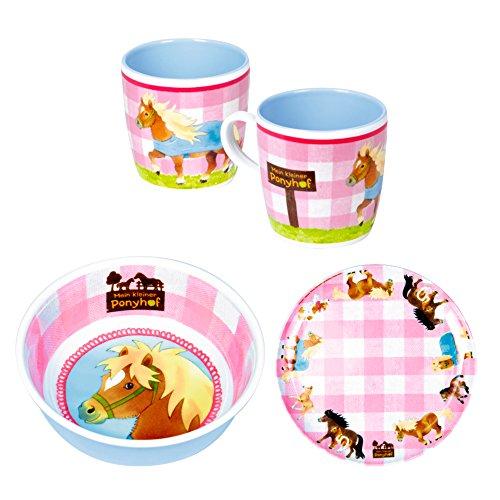 Spiegelburg Mein kleiner Ponyhof 3er Set 13339 13340 13341 Melamin-Tasse + Melamin-Teller +...