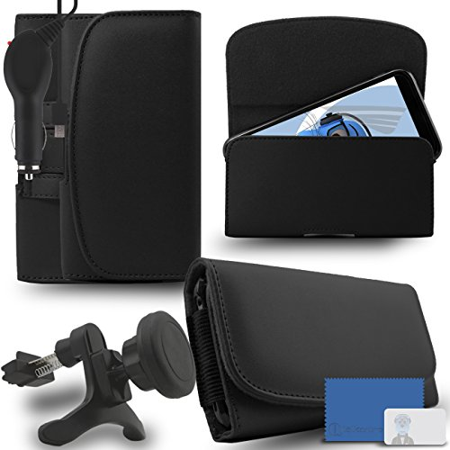 iTALKonline Samsung Galaxy A5 SM-A500G/DS Black PREMIUM PU Leather horizontal Executive Side Pouch Case Cover Holster with Belt Loop Clip and Magnetic Closure and 1000 mAh Coiled In Car Charger LED Indicator and Overload Protection with Heavy Duty Car Holder  available at amazon for Rs.660