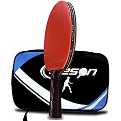 Caleson – pala de ping pong raqueta con doble hoja de carbono. Incluye funda, AD Long-handle Red C