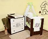 Babyzimmer 'Teddybär' sparset incl. Babybett , Wickelkommode , Ausstattung - Komplettset (grün)