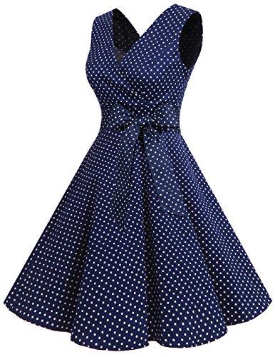 Dresstells 1950er Vintage Retro Rockabilly Kleid Ärmellos Festliches Partykleid Cocktailkleider Navy Small White Dot