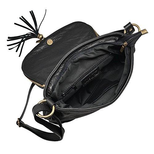 OLGA Handtasche Satteltasche mit zwei Fächern und Reißverschluss, Weichleder, Hergestellt in Italien small dunkel taubengraue