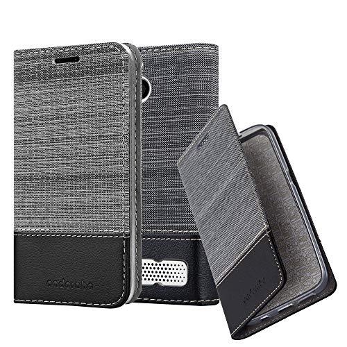 Cadorabo Hülle für Sony Xperia E1 - Hülle in GRAU SCHWARZ – Handyhülle mit Standfunktion und Kartenfach im Stoff Design - Case Cover Schutzhülle Etui Tasche Book