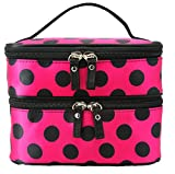 Shilinren Womens Ladys Makeup Case Cosmetic Hand Bag Double Layer Dot Print Bag