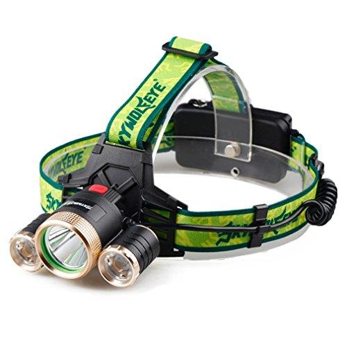 Tefamore Lámpara de cabeza de 4Modes 9000Lm 3X XML T6 + 2R5 LED faro principal luz antorcha cargador USB + 18650 Baterías+ cargador de coche (A)