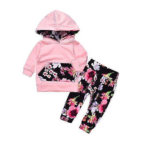 Beikoard Baby Langarm Blumendruck-Pullover-Set Neugeborenes Baby Mädchen Kleidung Mantel Floral Hosen Leggings Outfits Set (6M-24M (Rosa-6, 80)