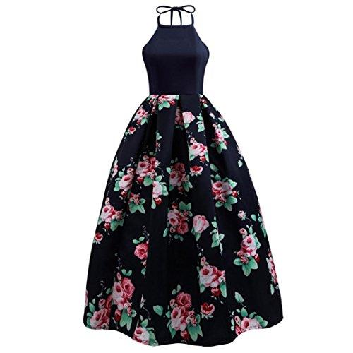 Hevoiok Damen Cocktailkleid Elegant Neckholder Blumenkleid Abendkleid Sexy Ärmellos Faltenrock Kleid Abendkleid (Marine, S) (Vintage Geburtstag Kleid)
