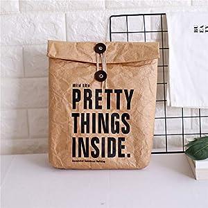 X-Labor Isolierte Lunch Bag Papier Tüte Brottasche Umweltfreundlich Wiederverwendbare Büro Mittagessen Thermotasche Lebensmitteltransport Lunch Tote Beutel braun-1