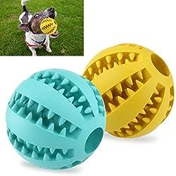 UEETEK 2pcs goma Squeaker apriete el juguete de la bola para mascotas perros gatos, 2.8 inch(Yellow+Blue)