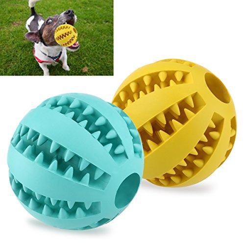 UEETEK 2 Stück Haustier Ball Spielzeug,7.1CM Durchmesser Ungiftig Bissfest Hund Kauen Ball,Hund Essen behandeln Feeder für Haustiere Hunde Spielen Traning Zähne Reinigung(Gelb+Blau)