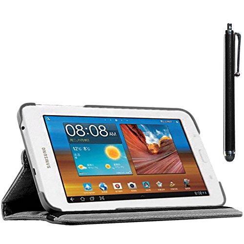 ebestStar - compatibel Samsung Galaxy Tab 3 Lite 7.0 Hülle SM-T110, VE SM-T113 Rotierend Schutzhülle Etui, Schutz Hülle Ständer, Rotating Case Cover Stand +Stift, Schwarz [Tab:193.4x116.4x9.7mm 7.0