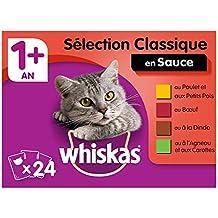 Whiskas Sachets Fraîcheur pour chat adulte (stérilisé ou non), Sélection classique en sauce, 12 sachets repas de 100g