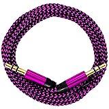 321ElectroniX® 0,5m/50cm Premium Nylon AUX Audiokabel Klinke 3,5 auf Klinke 3,5 [pink]