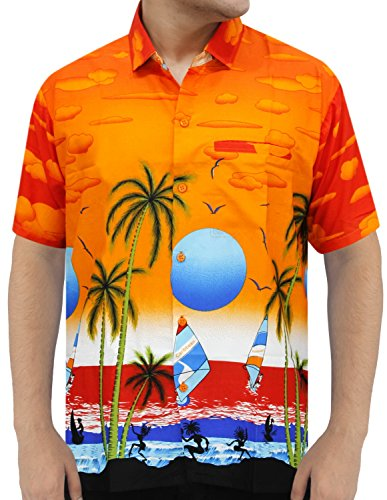 La Leela orange Likre Sonnenuntergang gedruckt Aloha Beach Hawaii-Shirt für Herren S (Hawaii-shirt Sonnenuntergang)
