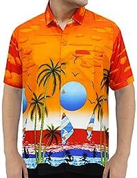 La Leela aloha bouton hawaïen classique Chemise ajustement régulier xs orange manches courtes hommes - 5xl